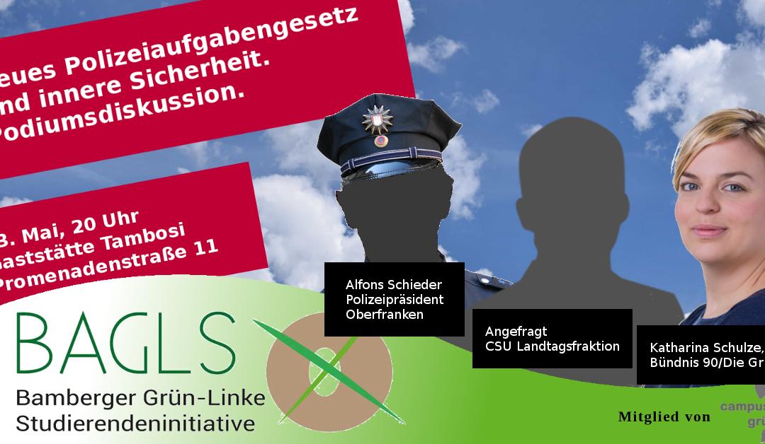 """Einladung: Podiumsdiskussion """"PAG und innere Sicherheit"""""""
